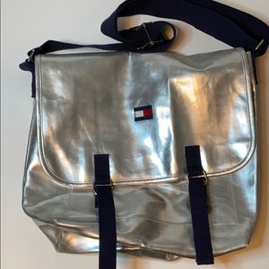 Tommy Hilfiger silver messenger bag